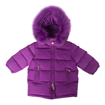MOSCHINO BABY Down Quilted Jacket Size 3-6M / 60 CM Detachable Hood & Fur Trim