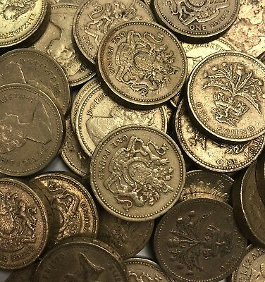 £25 Great British Pounds, 25 x UK vintage One Pound Coins (1983-2016 type)