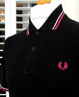 Fred Perry Laurel Collection Black Twin Tipped Polo Shirt - M - Ska Mod Scooter