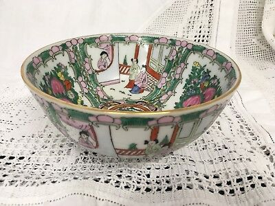 Vintage Chinese Famille Rose Imperial Bowl Canton Dish Porcelain Marked On Base