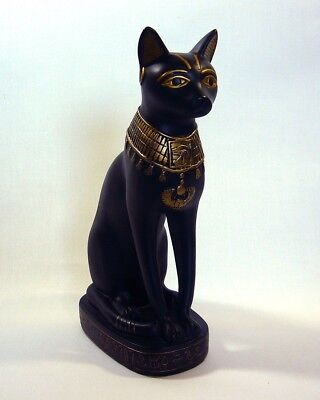 "Egyptian Bast Cat Goddess Statue 8.5"" Summit Collection Black Resin"