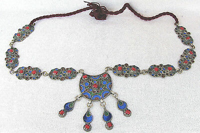 Morocco Algeria Antique Berber Ethnic Tribal Glass Enameled Silver Necklace