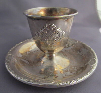 ANTIQUE FANCY 830 SILVER UNDER PLATE EGG CUP 39.3g
