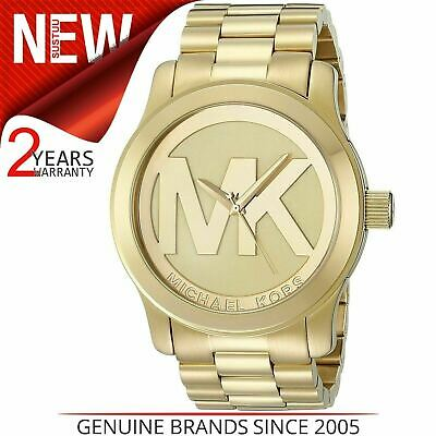 374dd304117a Michael Kors Runway Quartz Gold-tone Bracelet MK Logo Dial Ladies Watch  MK5473