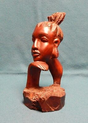 Carved Ebony Wood Portrait of African Woman Genuine Hand Carved Sculpture Statue