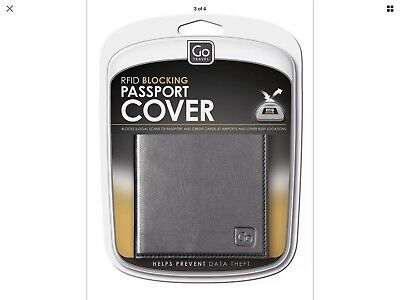 New Go Travel RFID Leather Passport Cover Black Protective Free Shipping New!*&#