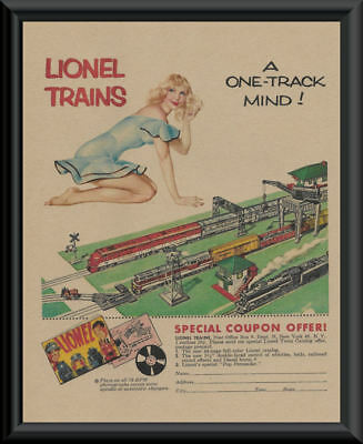 1950s Lionel Trains Pin Up Girl Poster Reprint On Original Period Paper *P179