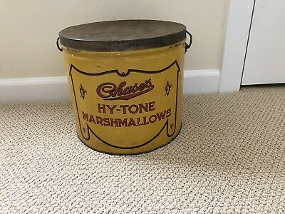 Vintage Antique Hy-Tone Marshmallows Tin Yellow & Red Large Size