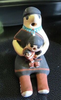 Tendzio Native American POTTERY STORY TELLER storyteller figurine 2 3/4""