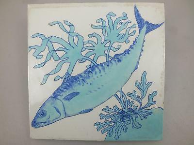 (1) A Brown Westhead & Moore 8 Inch Tile With A Blue/green Fish 19Th Century