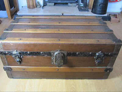 Antique Wooden Trunk Travel Chest, Beach Wood, Coffee Table, Storage Box, Retro