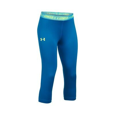 Under Armour Girls UA Heatgear Armour Solid Capri Leggings SIZE YLARGE UK SELLER