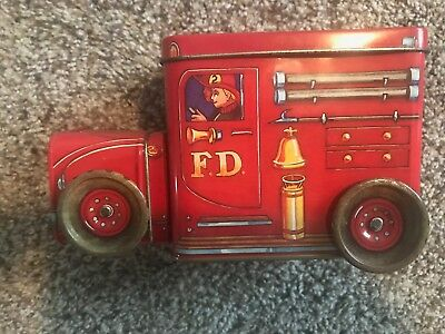 Fire Truck Bank | Vintage Fire Truck Tin Coin Bank by QVintage