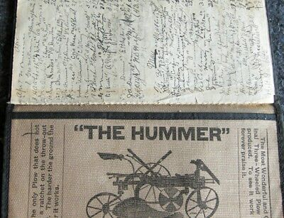 Circa 1897 Sattley Hummer Gang Plow Cultivator Canvas Notebook Bound Exceptional