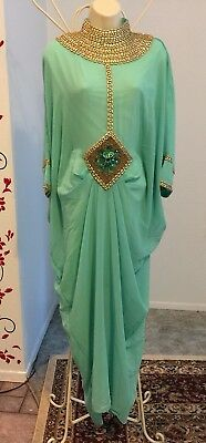 Mint green kaftan Caftan Farasha Moroccan women's dress Jalabiya beaded Maxi