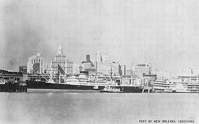 New Orleans Port~Steamer President~Freighter~1940 Conoco Touraide B&W Postcard