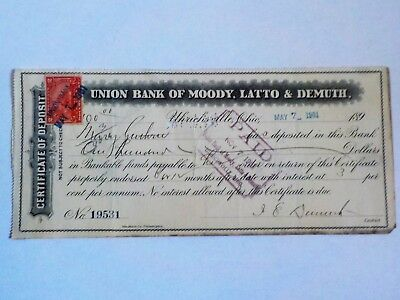 Union Bank of Moody, Latto and Demuth. Certificate from 1901, signed.