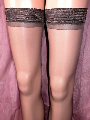LOT OF 24 x SHEER GLOSS HOLD UP STOCKINGS BARELY BLACK WITH GLOSSY TOPS BP