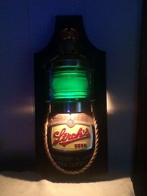 Vintage Stroh's Beer Green Lighted Nautical Lantern Plastic Sign Welcome Aboard