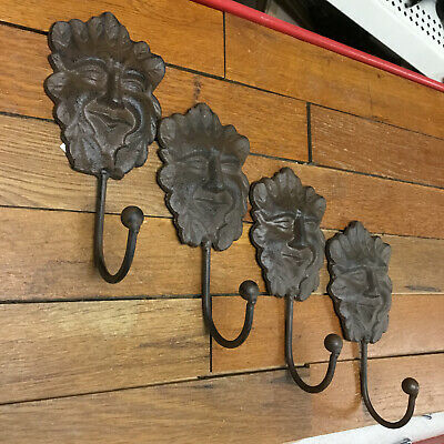 4 Face HOOKS COAT Hat WALL rustic cast iron hanger Towel Bath Barn