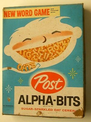 1960 EARLY POST ALPHA-BITS CEREAL BOX w/ Word Game offer on back