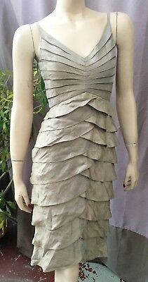 Adrianna Papell Womens Cocktail Dress Tiered Taupe Spaghetti Straps Sz 4