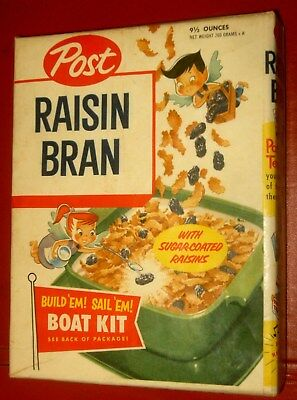 POST RAISIN BRAND CEREAL BOX w/ BOAT KIT OFFER (early 50s) NICE BOX