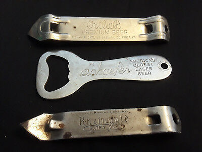 Vtg Collectible Lot Of 3 Bottle Can Openers Ortliels Rheingold Schaefer Beer