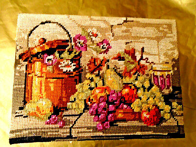 PrettyTapestry Needlework, Stretched To Frame Autumn Fruits etc