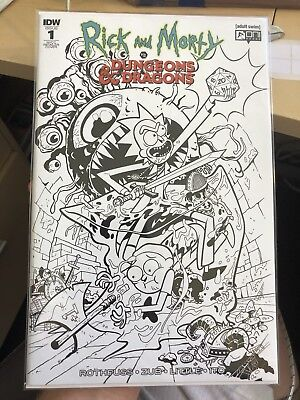 Rick and Morty vs Dungeons & Dragons #1 NYCC B&W Variant Scarce NM Free Shipping
