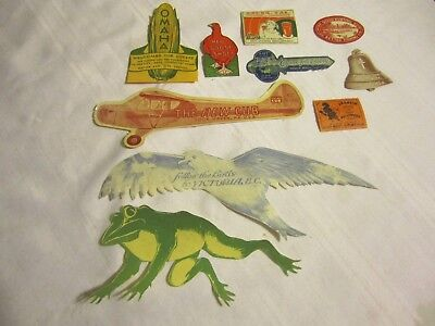 10 Vintage Stickers/labels-Angels Camp,anaheim Halloween Festival,red Goose Shoe