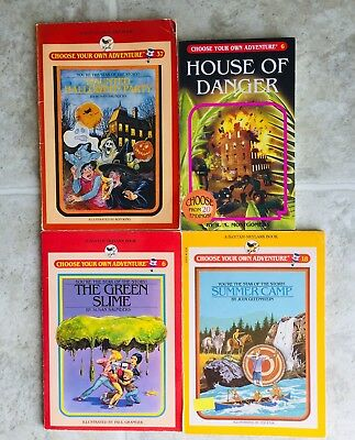 Lot of Four Vintage Choose Your Own Adventure Books Summer Camp Green Slime EUC