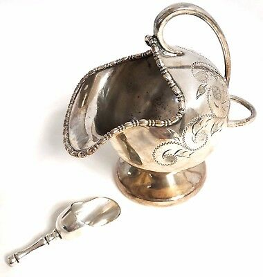 Vintage Silver Plated Sugar Scuttle and Scoop