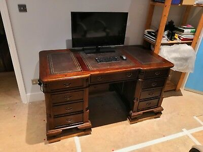 Antique Style Leather Top Mahogany Twin Pedestal Knee Hole Writing Desk