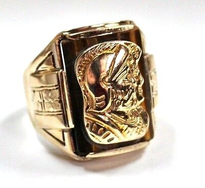 10K Yellow Gold Men's Signet Ring with ancient Roman Greek Soldier's head sz 8