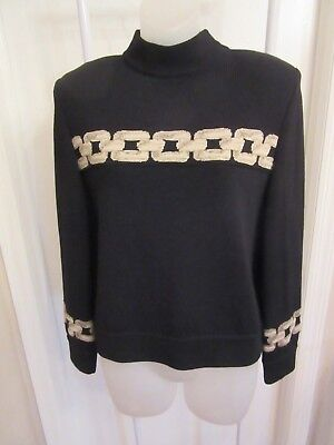 Vtg St John Collection Marie Gray Mock Sweater Chain Link Santana Knit Black S