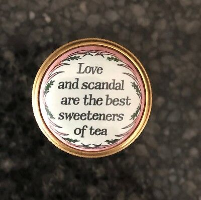 """Halcyon Days Enamel Box """"Love and scandal are the best sweeteners of tea"""""""