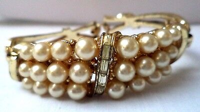"Stunning Vintage Estate Signed Coro Gold Tone Faux Pearl 7"" Bracelet!!! 5166G"