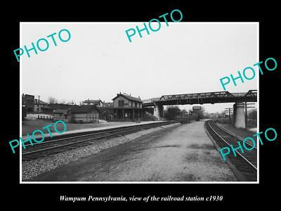 LARGE OLD HISTORIC PHOTO OF WAMPUM PENNSYLVANIA, THE RAILROAD STATION c1930