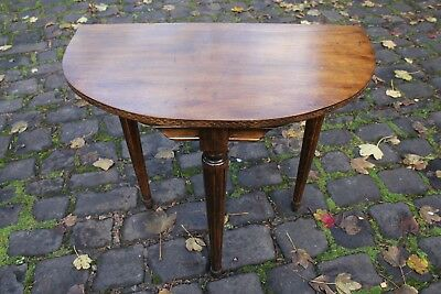 Georgian style demi-lune side table with three legs, solid wood