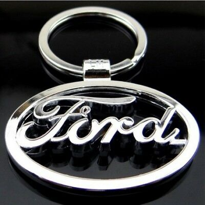 Ford 3D Chromed Car Logos Titanium Key Chain Keychain Ring Keyfob Metal
