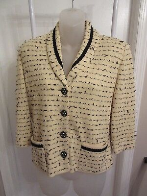 Vtg St John Collection by Marie Gray Cardigan Sweater  Yellow Black White Size 6