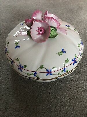 Herend Blue Garland Lidded Candy Dish Excellent