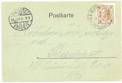 Austria 1899 cover, Schiffenpost am Bodensee to Budapest, ship cancel