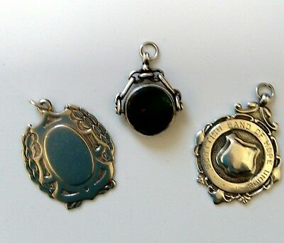 3Solid Silver Watch Chain Fobs