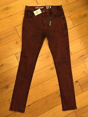 Boys Next Super Skinny Red/Black Jeans Age 16 Years * BNWT*