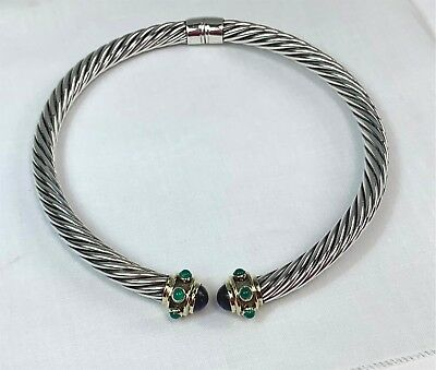 David Yurman Sterling Silver & 14k Gold Jeweled Cable Choker Necklace