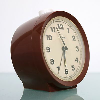 German RUHLA BLESSING Retro Alarm CLOCK Mantel TOP! Space Age BROWN Mid Century