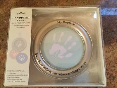 New Hallmark MY BAPTISM Baby Handprint Frame With 3 Background Colors
