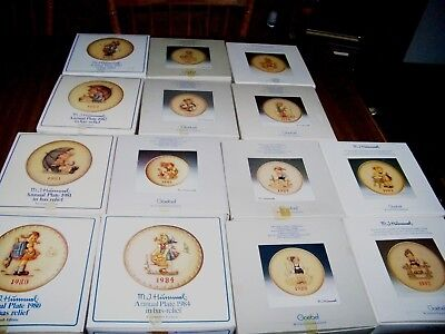 Lot of 14 - M.J. Hummel Plate Collection Goebel 1980 thru 1993 with Box